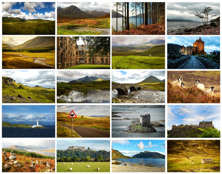 sheep road sign: Collage of images from famous location in Scotland, UK