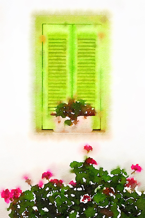 louver: Digital watercolour of a green window on a white wall with pink flowers