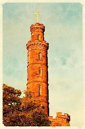Digital watercolour of Nelsons monument at Carlton Hill in Edinburgh