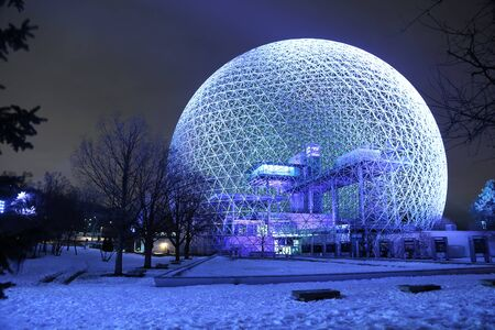 spatial: MONTREAL, CANADA - JANUARY 22, 2017: The Biosphere is a museum in Montreal dedicated to the environment. It was the pavilion of the United States during Universal exposition in 1967.