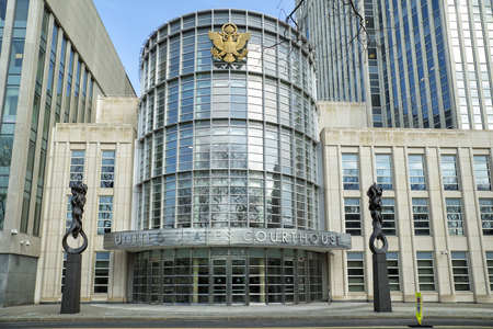 NEW YORK, USA - MARCH 24, 2017: United states courthouse in Brooklyn, is in the civic center of Brooklyn and adjacent to Brooklyn Heights first Historic District named as such in the City of New York.
