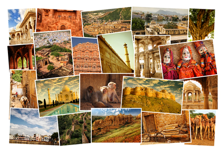 Collage of images from famous location in Rajasthan, north India on white background Stock Photo