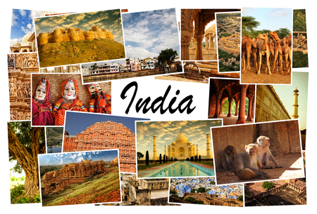 Collage of images from famous location in Rajasthan, India with the word India on white background in the middle of the collage