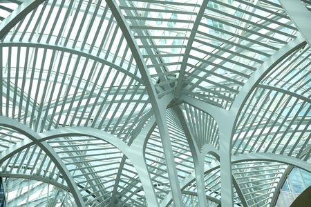 Intertwining steel arches at Sam Pollock Square. Brookfield Place is also home to the Hockey Hall of Fame and offices. Editorial