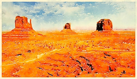 Digital watercolor of a butte in Monument Valley, Utah, USA Stock Photo