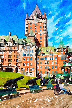 Digital watercolour of Chateau Frontenac in Quebec, Canada