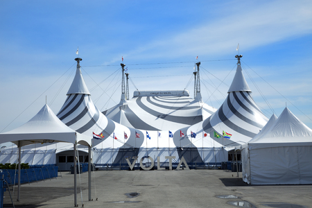 MONTREAL, CANADA - April 23, 2017: Tent of the new show of Cirque du Soleil, Canadian entertainment company. It is the largest theatrical producer in the world. Based in Montreal, Quebec, Canada Editorial