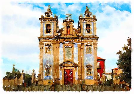 Digitale waterverf van een kerk in Lissabon, Portugal Stockfoto