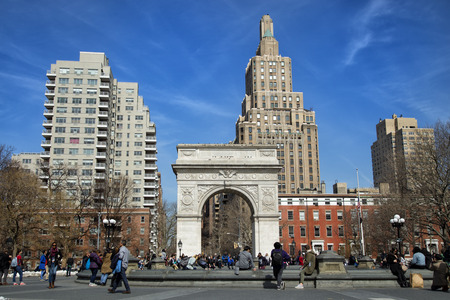 NEW YORK, USA - MARCH 24, 2017:  Washington Square Park is a public park in the Greenwich Village neighborhood of Lower Manhattan, New York City. One of the best known of New York Citys.