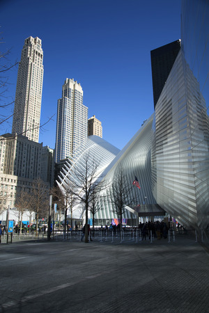 NEW YORK, USA - MARCH 24, 2017: World trade cental and ground zero memorial in Manhattan, New York city in United States. Editorial