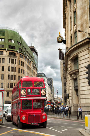 busses: LONDON, UK - MAY 29, 2017:  Red vintage double-decker bus for a sightseeing bus tour through London, very popular with the tourists.
