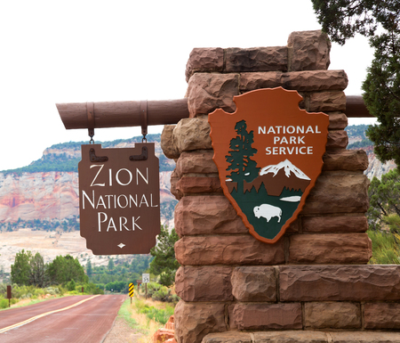 Entrance sign in Zion National park in Utah, United States Stock Photo