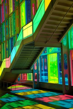 MONTREAL, CANADA - September 14, 2017: Colourful glass panels and stairs in Palais des congres de Montreal (Montreal Convention and Conference Centre)  Montreal, Canada Imagens