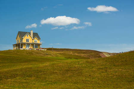 Beautiful yellow on a butte of Havre aux maisons in magdalen island in Quebec, Canada