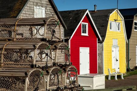 Lobster pot with oysters barns in background  in New London, Prince Edward island also called PEI Stock Photo