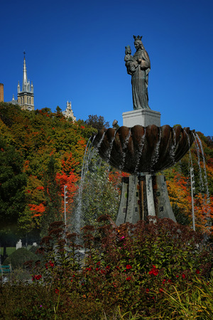 Statue of Ste-Anne de Beaupre near the he Basilica of Sainte-Anne-de-Beaupre in Quebec It has been credited by the Catholic Church with many miracles of curing the sick and disabled.