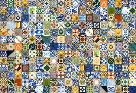 247 kleurrijk keramische tegelspatroon van Lissabon, Portugal