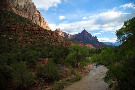 View of the Watchman mountain and the virgin river in Zion National Park in Utah in United States