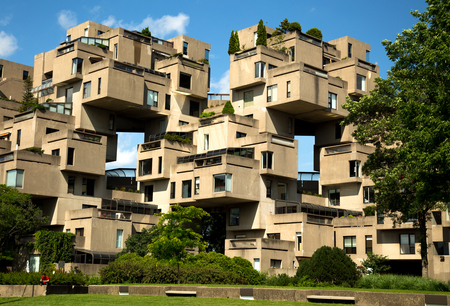 MONTREAL, CANADA - JULY 15, 2017:  Habitat 67 is a housing complex in Montreal of 354 identical, prefabricated concrete forms arranged in various combinations, reaching up to 12 stories in height Redactioneel