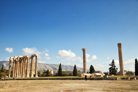 The Temple of Olympian Zeus is a monument of Greece and a former colossal temple at the centre of the Greek capital Athens Stock Photo