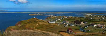 View of rugged cost line of Havre Aubert in magdalen island in Quebec Imagens