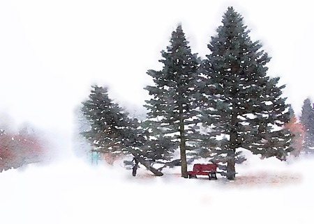 Digital watercolour of a bench with fir trees in a path during winter season