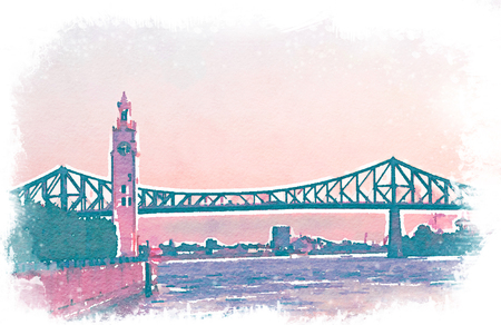 Digital watercolour of Jacques Cartier bridge and clock tower in old port of Montreal, Quebec