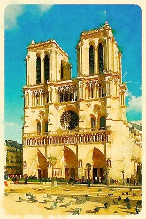 Digital watercolour of Notre-Dame-de-Paris in Paris, France