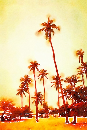 Digital watercolor of palm trees on a beach during the sunset