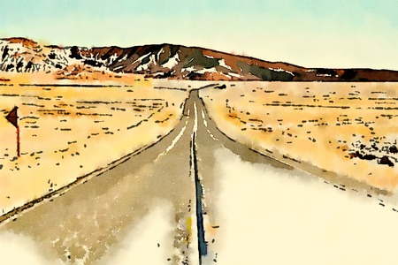 Digital watercolor of road in a desert in USA