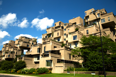 MONTREAL, CANADA - JULY 15, 2017:  Habitat 67 is a housing complex in Montreal of 354 identical, prefabricated concrete forms arranged in various combinations, reaching up to 12 stories in height Editorial