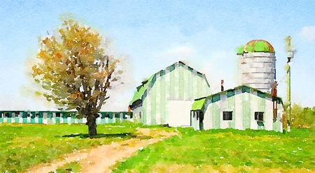 Digital watercolor of a nice green farm against a blue sky