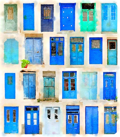 Digital watercolor of 24 different blue doors Stock Photo