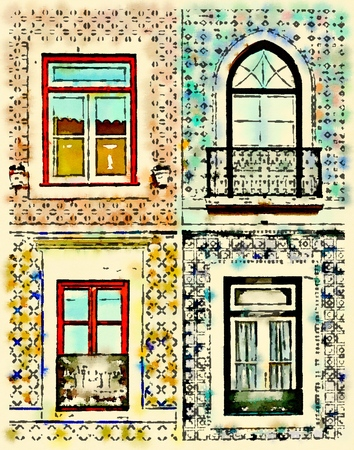 Digital watercolor of 4 different kind of windows surround by tiles in Portugal