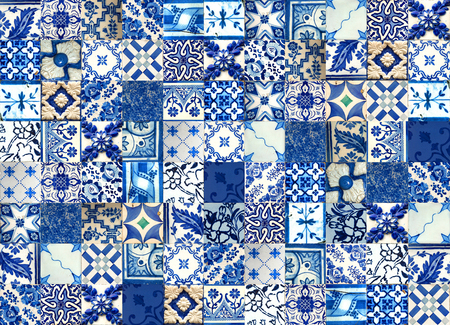 Set of different blue patterns tiles from Lisbon, Portugal