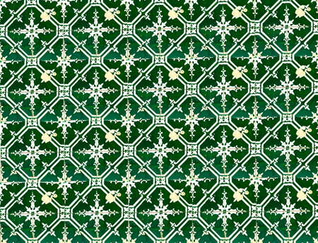 Collection of green patterns tiles as a background