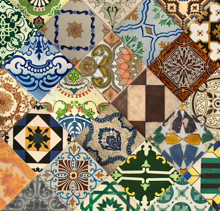Colorful ceramic tiles pattern from Lisbon, Portugal