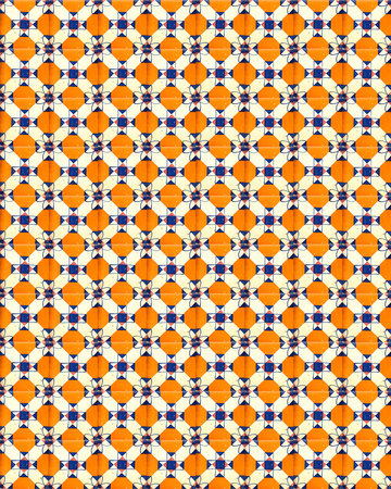 Collage of orange tiles with flowers as a background from Portugal 版權商用圖片