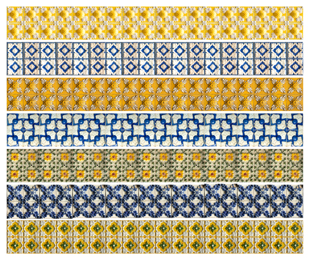 Collection of different yellow and blue patterns tiles with relief as a background