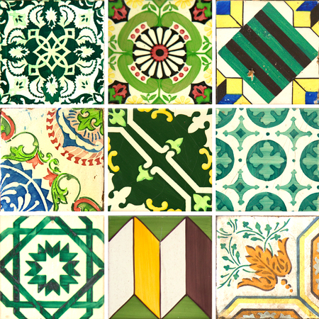 Photographer of traditional Portuguese tiles in green Stockfoto