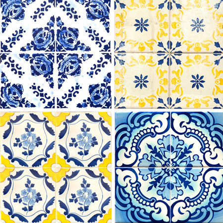 Photographer of traditional Portuguese tiles blue and yellow