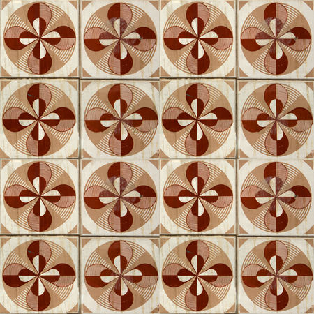 Photograph of traditional portuguese tiles in brown with flowers 版權商用圖片
