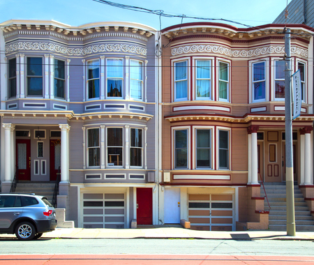 SAN FRANCISCO-USA, May 6, 2018:  Painted ladies are a designation for brightly painted Victorian and Edwardian buildings in San Francisco with downtown San Francisco in background. Editorial