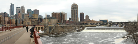 Panorama of downtown city, the arch bridge and Mississipi river in Minneapolis in Minnesota
