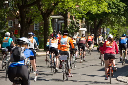 MONTREAL,CANADA- JUNE 3, 2018:  The Tour de l ile is a Sunday biking classic, thousands of cyclists fill the streets of Montreal in Canada.    More than 25 000 people participate at this 34th edition.