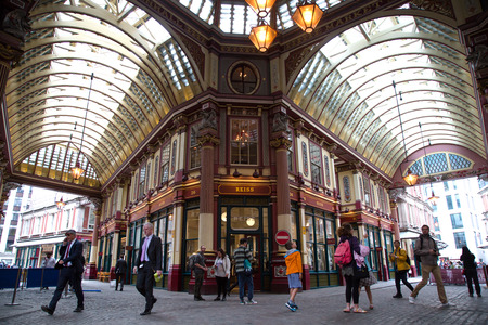 LONDON, UK - JUNE 5 , 2017:  Leadenhall Market is a covered market in London one of the oldest markets in London, dating from the 14th century, and is located in the City of London financial district.