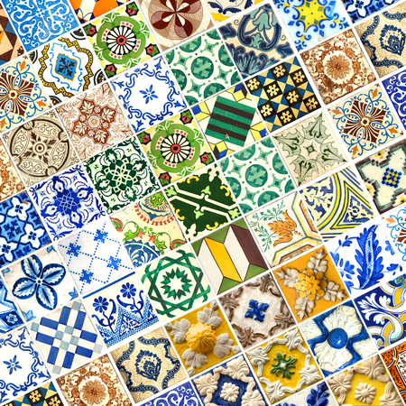 Photograph of traditional portuguese tiles in different pattern and colours