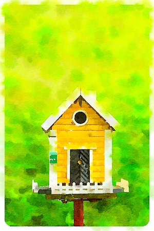 Digital watercolour of yellow birdhouse in a green background