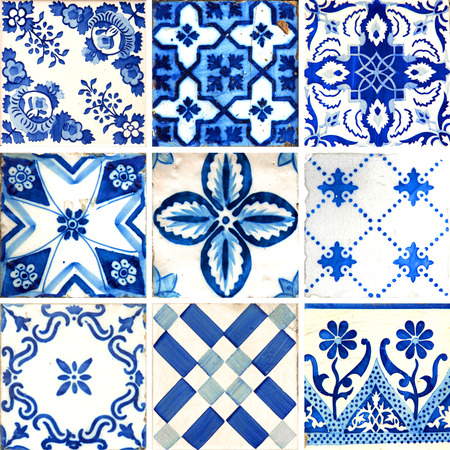 Photographer of traditional portuguese tiles in blue with different pattern Stockfoto