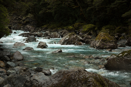 Talbot river near Milford sound in Southern island in New Zealand